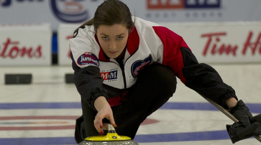 Corner Brook Nfld.January 31, 2015.M&M Meat Shops Canadian Jr.Curling Championship.Ontario skip Chelsea Brandwood of Hamilton Ont delivers her stone during the woman's final against Alberta. michael burns photo