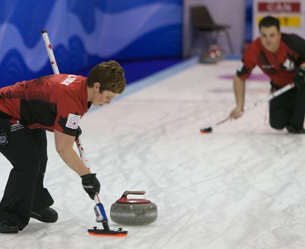 Ontario's Kim and Wayne Tuck, representing Canada at the World Mixed Doubles Curling Championship 2014, Dumfries, Scotland